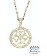Solid 14K Yellow Gold 0.30CT Natural Diamond Fancy Round Pendant Fine Je... - $331.99