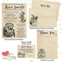 Alice in Wonderland Vintage Baby Shower Invitation Set thank you diaper ... - £1.32 GBP