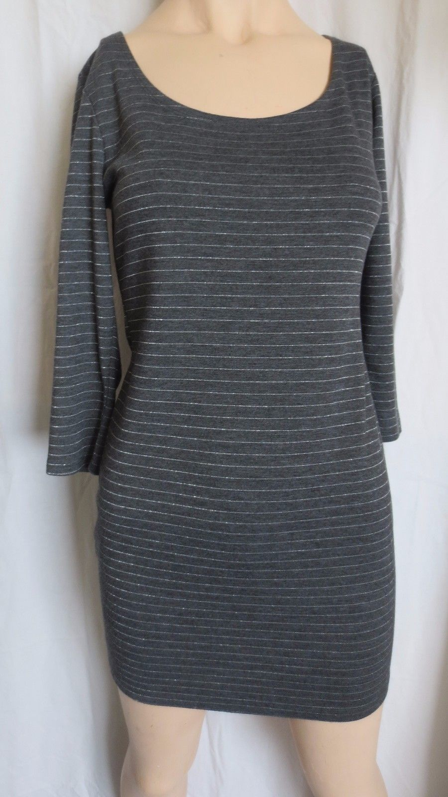 Forever 21 XXI stretch bodycon gray silver mini dress 3/4 sleeves size M - $15.00