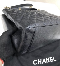 AUTH CHANEL QUILTED CAVIAR GST GRAND SHOPPING TOTE BAG GOLD HW image 5