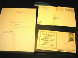 James F. Byrnes Stamp Cover w/Letter Autograph Signature as Sec State - ... - $149.07