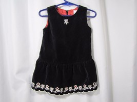 HANNA ANDERSSON BLACK VELVET VELOUR JUMPER DRESS BABY TODDLER GIRL 80 12... - $20.44