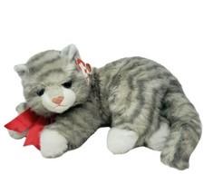 Vintage 1995 Ty Al E Kat Classique Kitty Chat Gris Rayé Animal en Peluche Nœud - $36.29