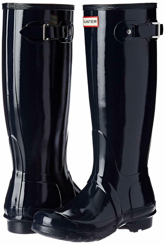 Hunter Original Tall Wellington Welly Navy Gloss Stivali WFT1000RGL 7 New IN Box
