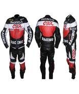 HONDA CBR RED MOTORBIKE MOTORCYCLE BIKER 2 PIECE COWHIDE LEATHER ARMOURE... - $329.99