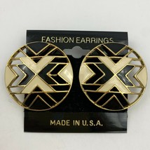 Vintage Modernist Round Cutout Enamel Pierced Earrings Tribal Cream Gold... - $11.84