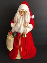 Vintage Father Christmas Santa Claus Tree Topper with Bag of toys and bell - $24.74