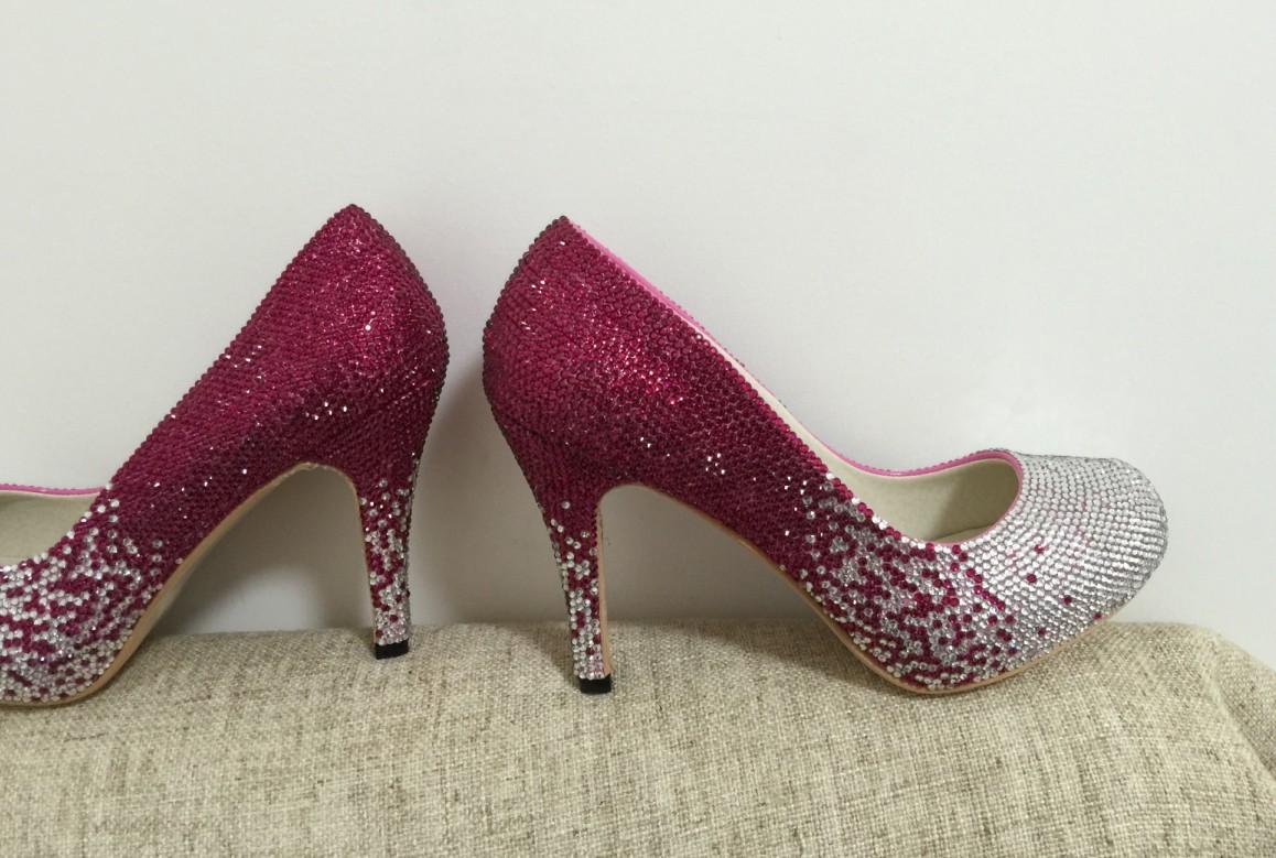 "Crystal Wedding Shoes Sparkle Bridal Shoes Bling Crystal 4"" High Women Heels image 2"