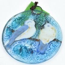Winter Chickadee & Berry Tree Fused Art Glass Ornament Handmade in Ecuador image 2
