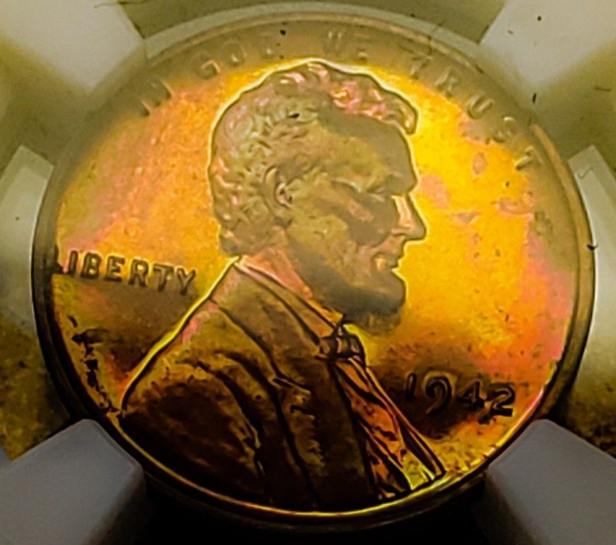 1942 PF63  RB LINCOLN WHEAT CENT/PROOF  *  TONED *  002  .