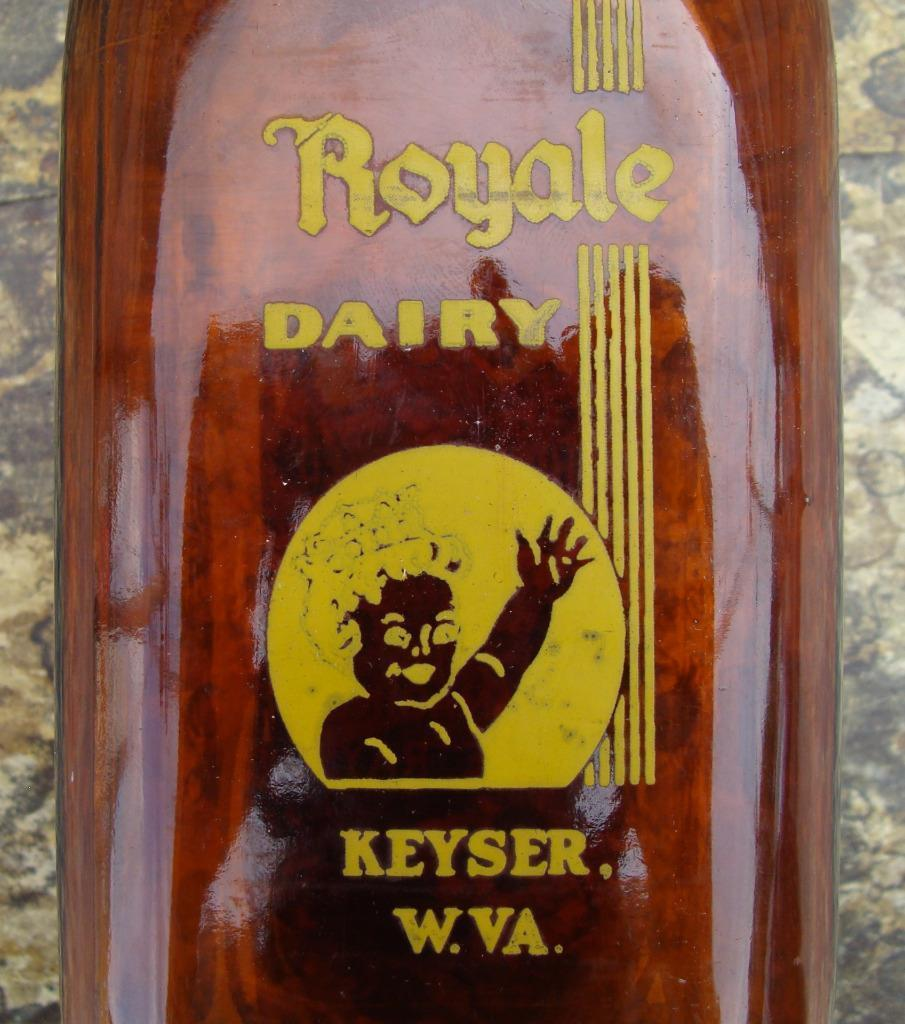 Vintage Keyser WV Amber Royale Dairy Chocolate MIlk Quart Bottle Exc Cond & ACL