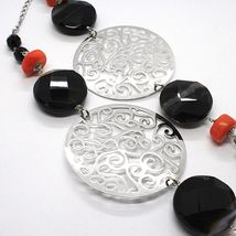 925 Silver Necklace, Agate Faceted Disc, Coral, Medallion, 80 cm image 4