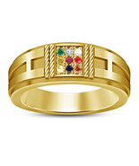 14k Yellow Gold Plated 925 Sterling Silver Multi-Color Stone Men's Navra... - $54.24