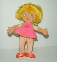 """Vintage Ideal 4"""" Treat Time Baby Flatsy Doll 1969 Yellow Hair Blue Eyes - $11.88"""