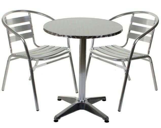 Primary image for Aluminium Silver Patio Bistro Cafe Set Table Chairs Garden Outdoor Pool Silver