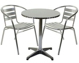 Aluminium Silver Patio Bistro Cafe Set Table Chairs Garden Outdoor Pool ... - $51.34+