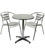 Aluminium Silver Patio Bistro Cafe Set Table Chairs Garden Outdoor Pool ... - $51.55+