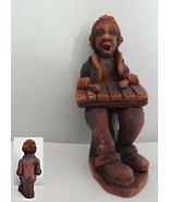 Musician Red Clay Figurine Playing a Xylophone - $18.69