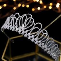 Asnora Zircon Crystals coroa de noiva Bridal Tiaras Wedding Crowns Hair ... - £35.63 GBP