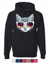 Kitty With Sun Glasses Hoodie Cute Kitten Palm Trees Cat Lovers Sweatshirt - $21.60+