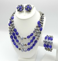 Vintage Hobe Purple and Silver Beaded Necklace, Bracelet and Earring Set - $75.00