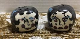 Vintage Hand Crafted Clay Ladies Head Kitsch Salt & Pepper Shaker Set - $6.50