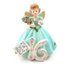 Vintage Josef Original Birthday Angel Girl Figurine 16 Pink Flowers Porcelain - $34.51