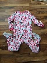 Carters Child Fleece Sleeper with feet winter theme Sz 8 Pink Red Stocking Print - $13.99