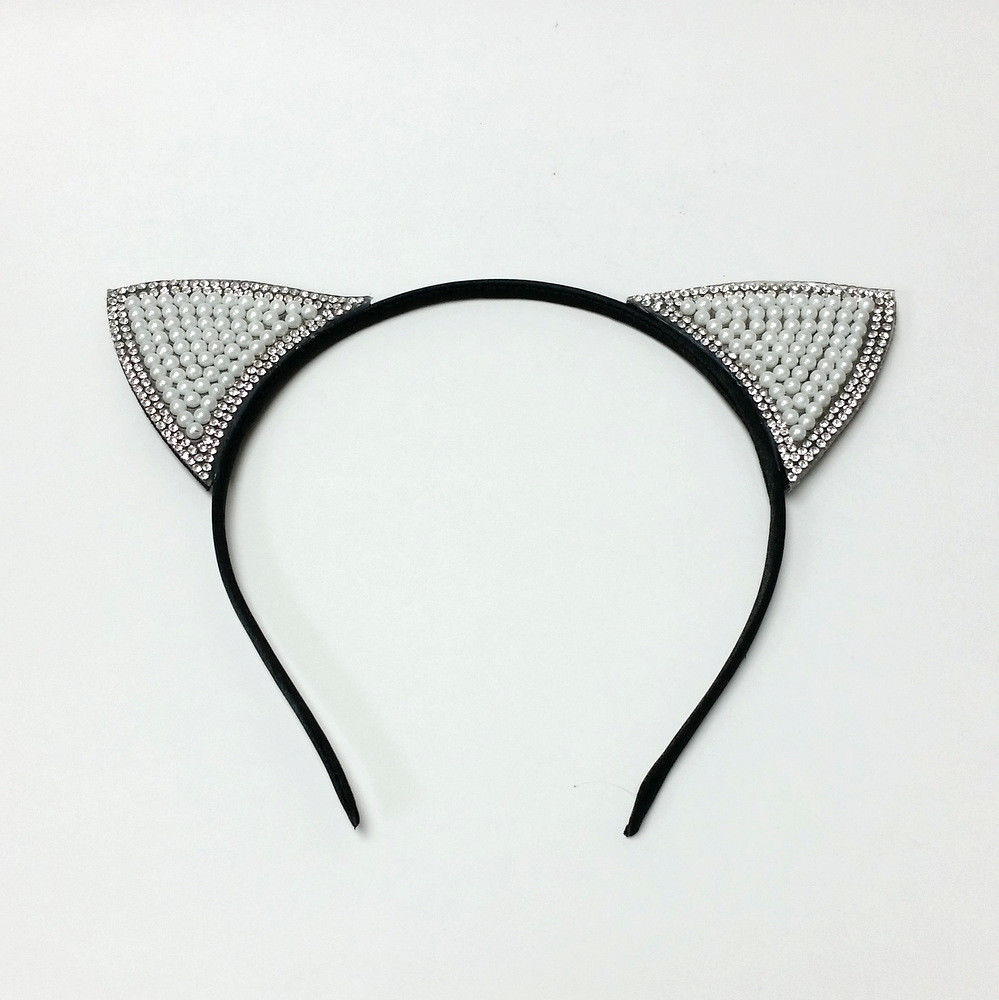 Rhinestone & Pearl Beads Cat Ear Headband Women & Girls Hair Accessories