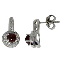 925 Sterling Silver Pink Tourmaline White Topaz Cluster Stud Earring SHE... - $31.09