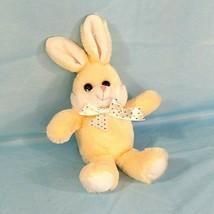 Hug and Luv Plush Bunny Rabbit Easter Pale Yellow Polka Dot Bow 8.5 inch - $12.86