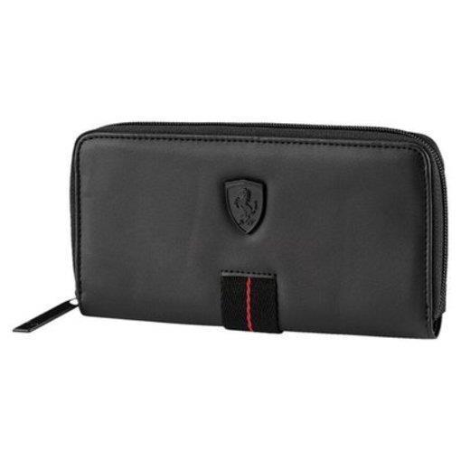 New Puma Ferrari Premium Unisex Zip Around Coin Organizer Id Wallet Black 074514
