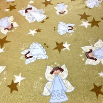 Christmas Angels Stars Fabric Glittery Gold Holiday Sparkle by Fabric Tr... - $4.50