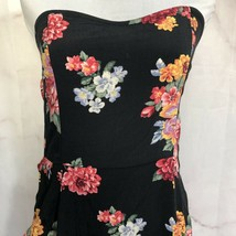 Forever 21 Black Floral Dress Sweetheart Neckline Off The Shoulder Size M - $12.38