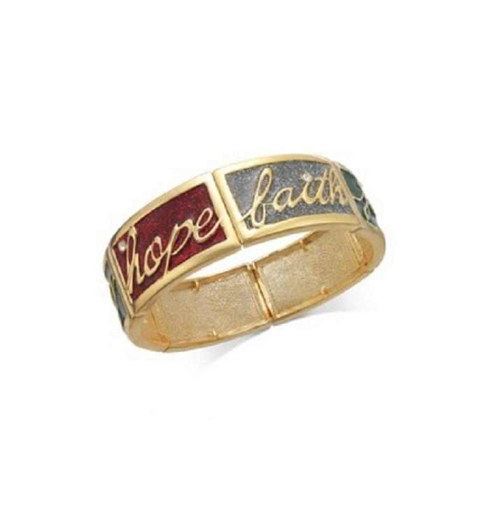Charter Club Gold-tone Joy, Hope and Faith Stretch Bracelet - $9.89