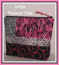 Make Up Bag With Inside Pockets Hot Pink Zebra Cosmetic Case Black Snow ... - $27.00