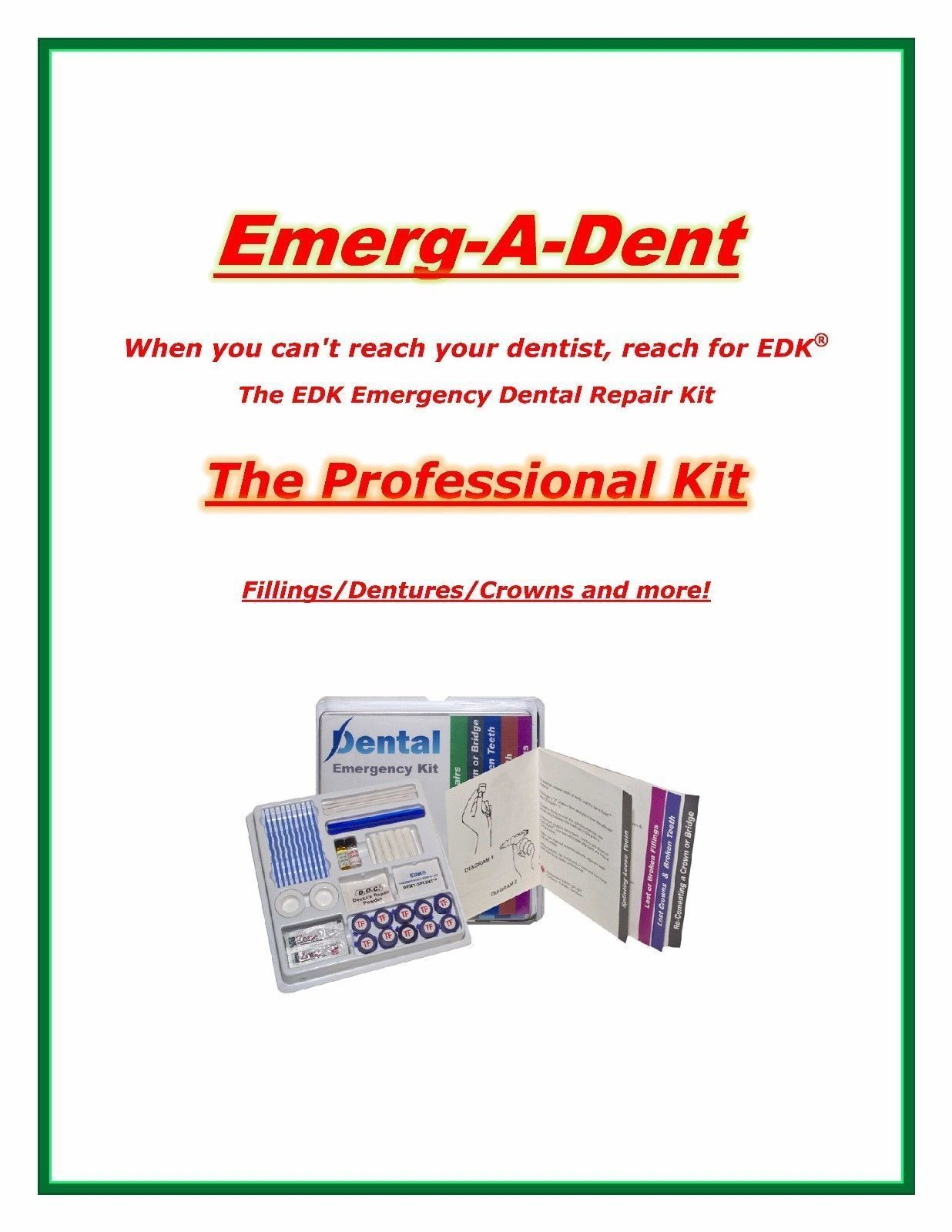 Primary image for Emerg-A-Dent Professional Dental Emergency Repair Kit Worlds Most Complete Kit