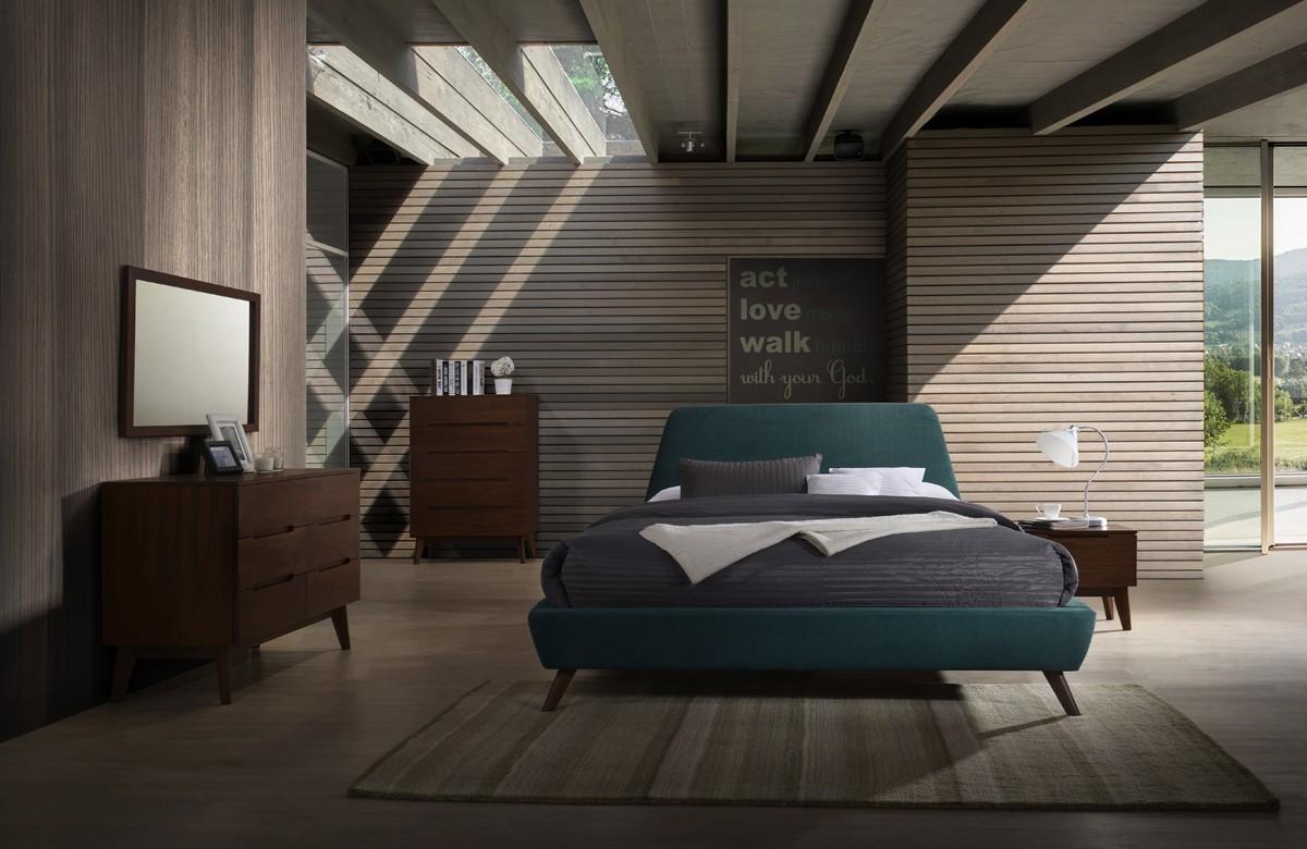 Modrest Lewis Mid-Century Modern Teal & Walnut Bed