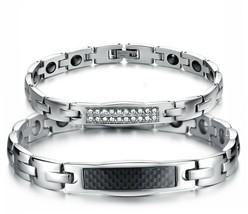 Cupimatch 2pcs Couple Womens Mens Bracelets, Stainless Steel Love Bangle With - $62.98