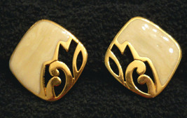 Avon Scrollwork EARRINGS Pearly GoldVTG Plated Nickel Free CHOOSE Clip o... - $19.75