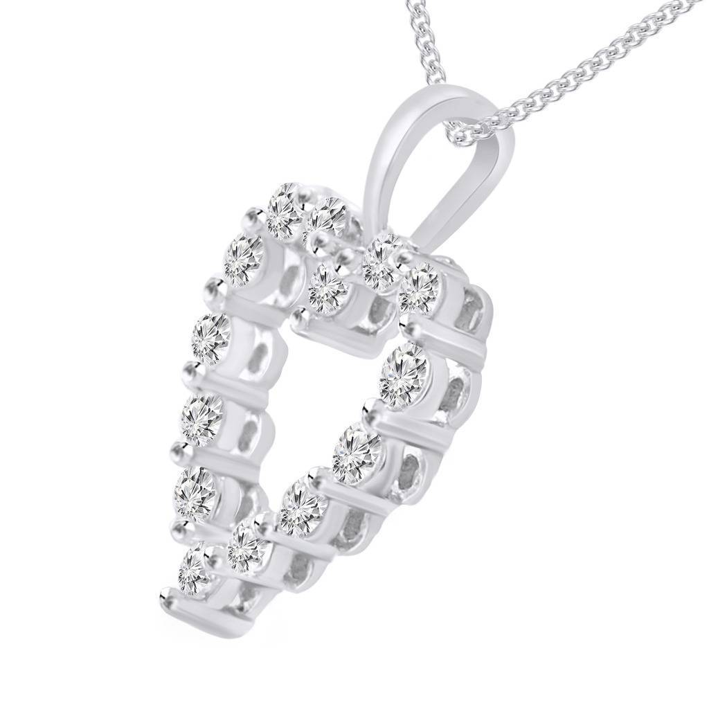 """0.20 Cttw Round Cut Diamond 14k White Gold Over Heart Pendant With 18"""" Chain"""