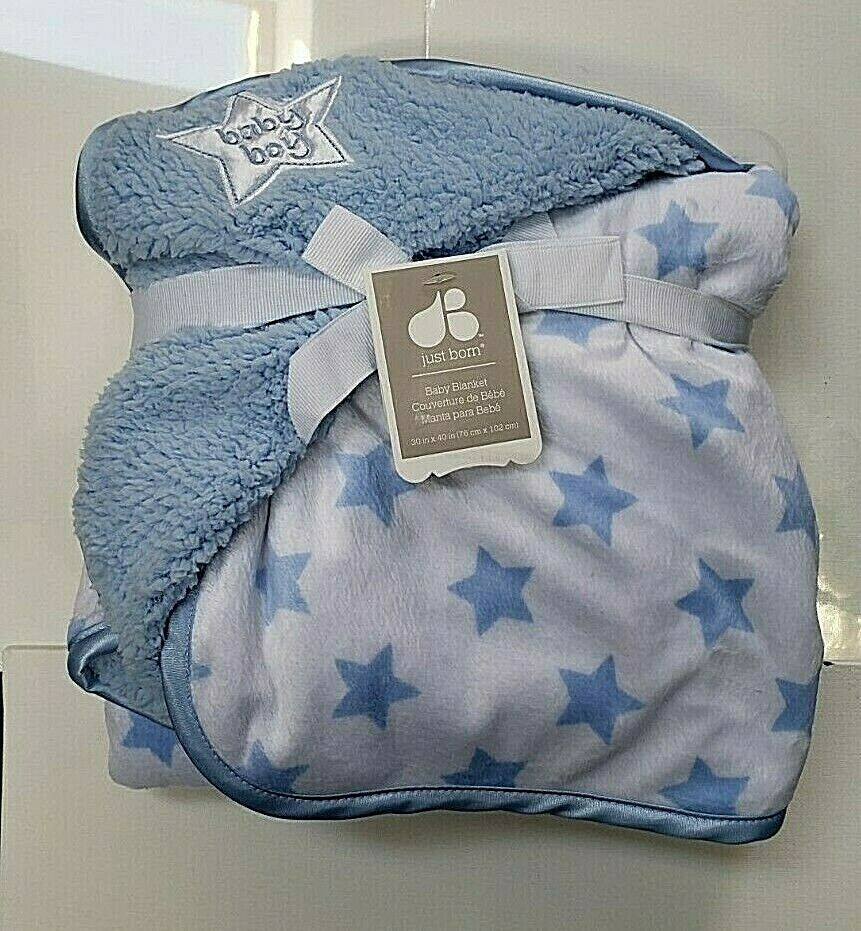 Just Born Baby Blanket Security Baby Boy Fleece Soft Stars Blue White 30''X40'' - $34.16