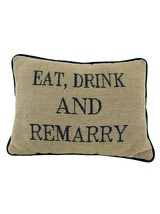"""Unbranded Eat Drink and Remarry Novelty Throw Pillow Navy Blue Tan 12.5""""... - $18.81"""