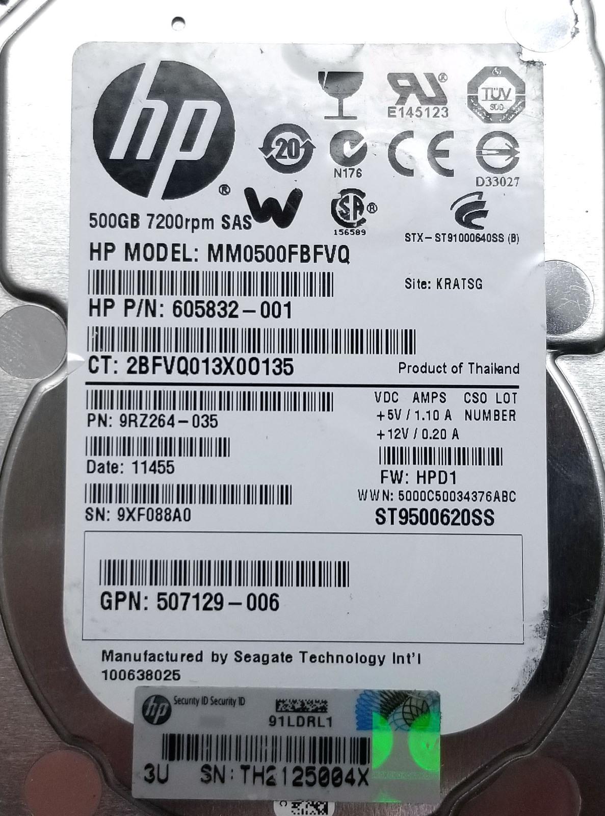 HP 500GB 7200RPM SAS Server HDD MM0500FBFVQ 605832-001 Bin:15
