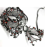 Black Red Phantom Men Woman Venetian Mask Masquerade Metal Couple Masks Set - £28.59 GBP