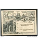 VA Jamestown Island Virginia Postcard was attached to entrance ticket - $3.50