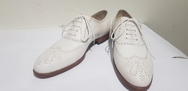 Handmade Men's White Fashion Wing Tip Brogues Style Dress/Formal Oxford Leather image 1
