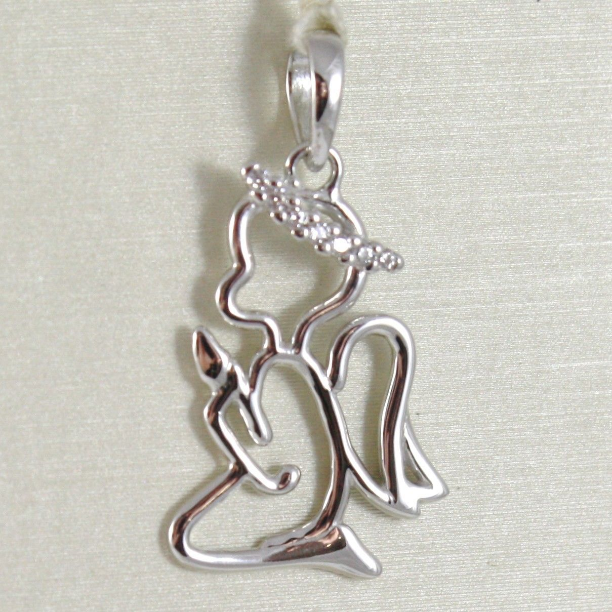 SOLID 18K WHITE GOLD PENDANT STYLIZED GUARDIAN PRAYER ANGEL ZIRCONIA, ITALY MADE