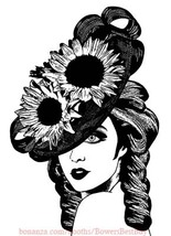 vampire woman wearing derby hat printable art png jpg clipart digital do... - $3.99
