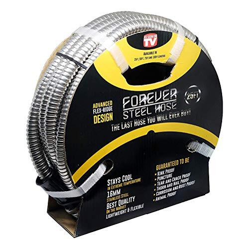 Forever Steel Hose (25' 304 Stainless Steel Garden Hose - As Seen On TV - Lightw
